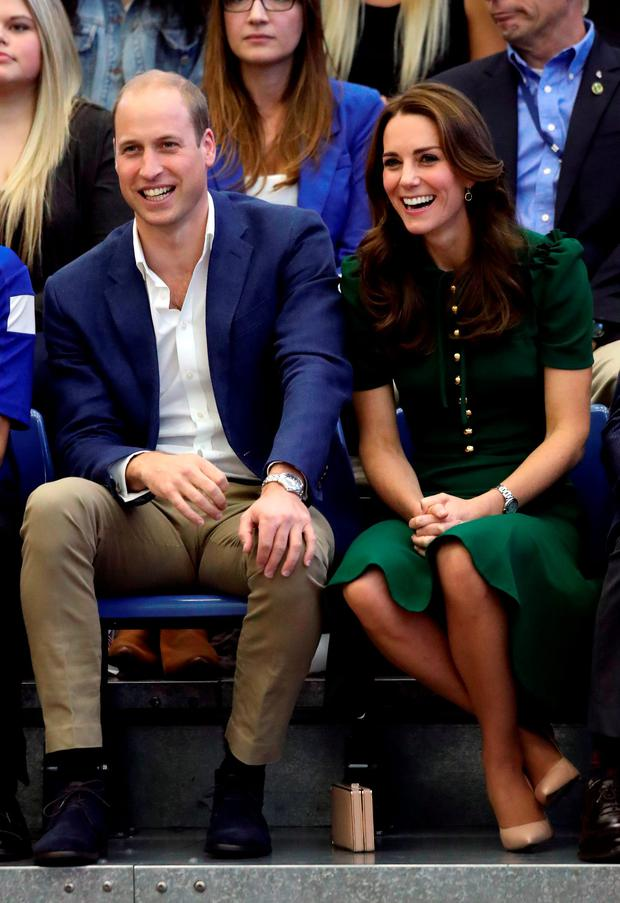 The Duke and Duchess of Cambridge watch a volleyball game at the University of British Columbia's campus in Kelowna, Canada, on the fourth day of the royal tour to Canada.