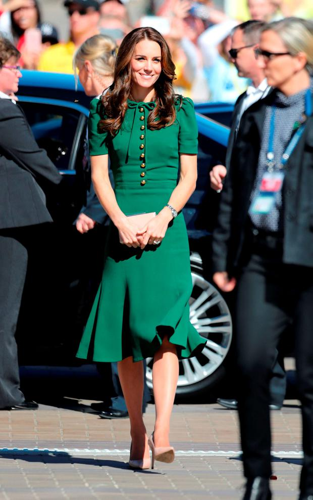 The Duchess of Cambridge arrives to tour the University of British Columbia's campus in Kelowna, Canada, on the fourth day of the royal tour to Canada.