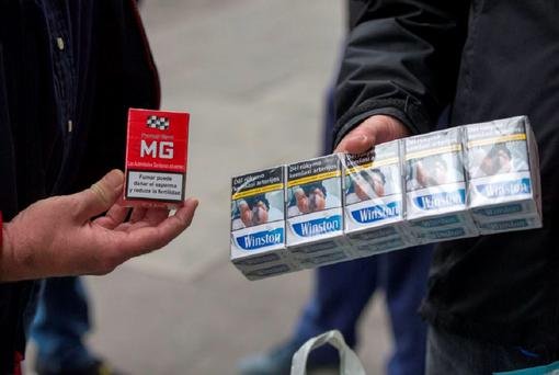 The cigarettes being sold in Dublin City Centre