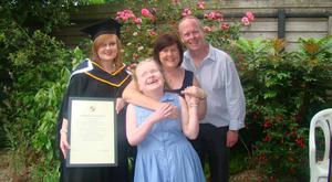 Colleen pictured with her family Amy (24) and mum Tina and dad Bob