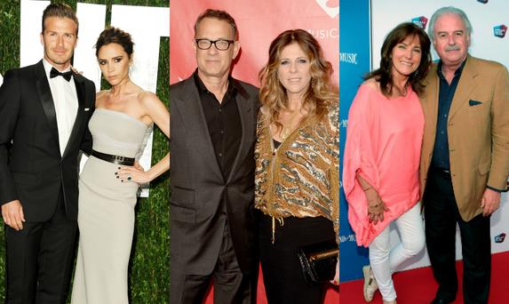 (L-R) David and Victoria Beckham, Tom Hanks and Rita Wilson, Marty and Maria Whelan.
