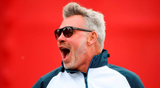 Captain Darren Clarke reacts during practice prior to the 2016 Ryder Cup at Hazeltine