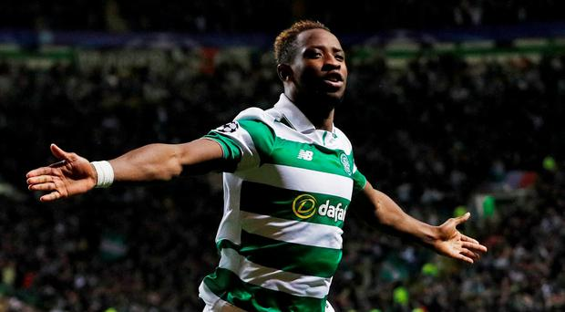 Celtic's Moussa Dembele celebrates scoring their third goal Action Images via Reuters / Lee Smith