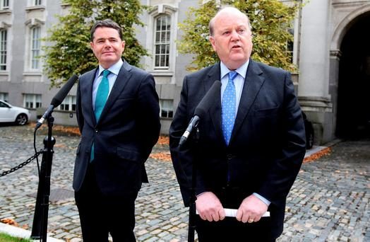 Finance minister Michael Noonan and Paschal Donohoe, the minister for Public Expenditure. Pic Tom Burke