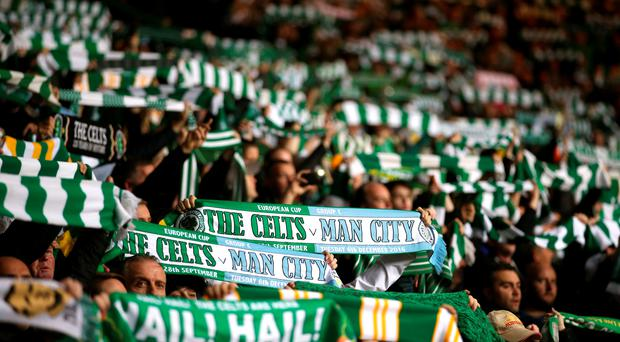 Celtic supporters show just what being on Europe's main stage means to them, ahead of their 3-3 Champions League group stage draw with Manchester City. Picture: PA