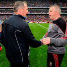 Dublin manager Jim Gavin and his Mayo counterpart Stephen Rochford shake hands. Photo: