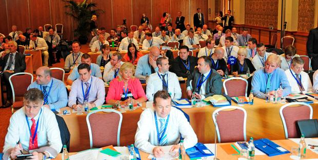 Delegates attending The Garda Representative Association meeting, held at the Tullamore Court Hotel, Co Offaly. Photograph: James Flynn/APX