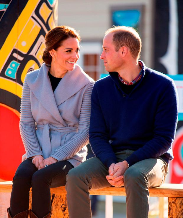 The Duke and Duchess of Cambridge at a First Nation cultural welcome in Carcross, Canada, on the fifth day of the Royal Tour to Canada.