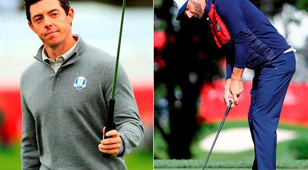 Rory McIlroy was on the putting green when Dustin Johnson interrupted his practice session