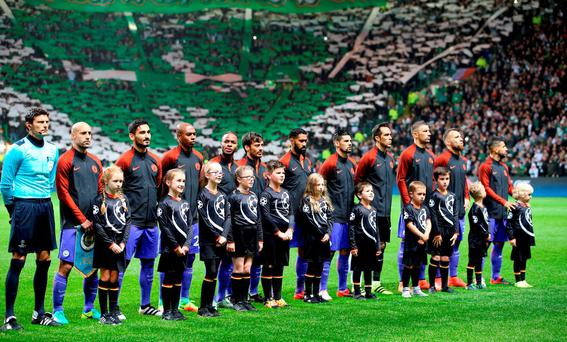 Manchester City players line up before kick off during the UEFA Champions League, Group C match at Celtic Park