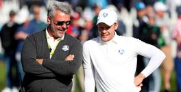 Team Europe captain Darren Clarke and Danny Willett of England on the fourth green during a practice round for the 41st Ryder Cup at Hazeltine