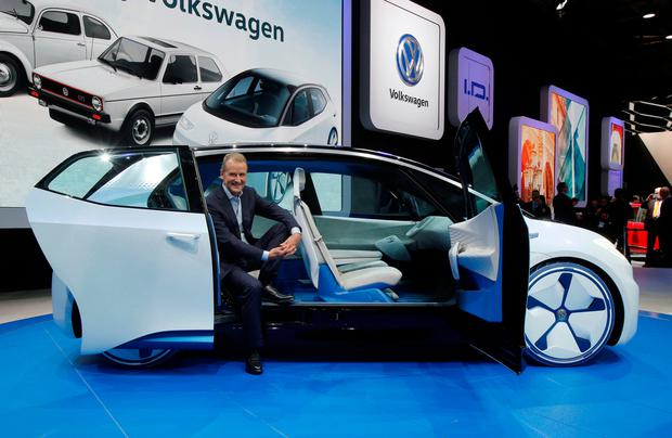 Volkswagen CEO Herbert Deiss introduces the new Volkswagen electric car. Photo: AP