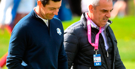 Paul McGinley with Rory McIlroy at a practice session at Hazeltine National Golf Club. Photo: Ramsey Cardy/Sportsfile