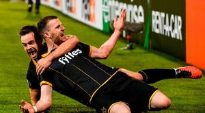 Ciaran Kilduff, right, of Dundalk celebrates after scoring his side's first goal with team mate Robbie Benson during the UEFA Europa League Group D match between Dundalk and Maccabi Tel Aviv at Tallaght Stadium in Tallaght, Co. Dublin. Photo by David Maher/Sportsfile