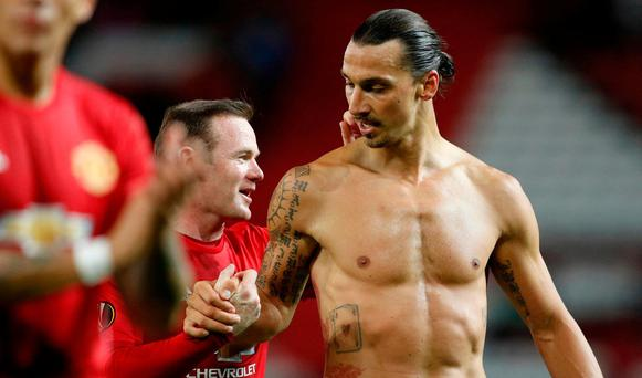 Manchester United's Wayne Rooney and Zlatan Ibrahimovic after the match Reuters / Darren Staples