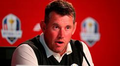 Europe's Lee Westwood speaks to the media during a practice session ahead of the 41st Ryder Cup at Hazeltine