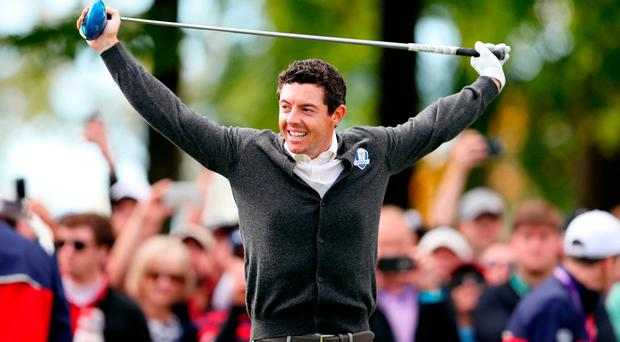 Europe's Rory McIlroy during a practice session ahead of the 41st Ryder Cup at Hazeltine National Golf Club in Chaska, Minnesota, USA. David Davies/PA Wire