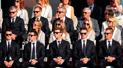 (L-R) Europe's Martin Kaymer, Rory McIlroy, Thomas Pieters, Justin Rose and Henrik Stenson during a ceremony ahead of the 41st Ryder Cup at Hazeltine National Golf Club in Chaska, Minnesota, USA. Peter Byrne/PA Wire