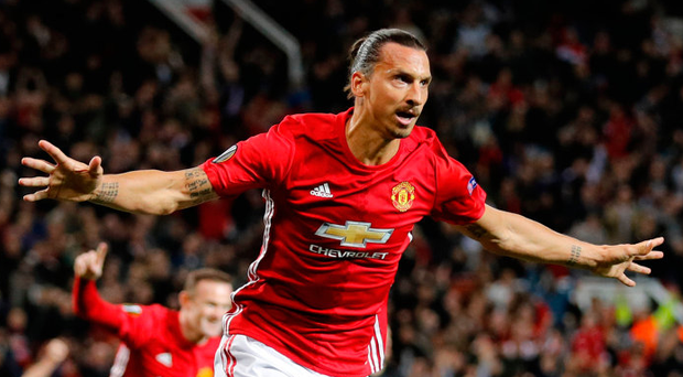 Zlatan Ibrahimovic celebrates scoring Manchester United's first goal. Photo: Darren Staples/Reuters