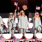United States player partners Mandy Snedeker, Justine Reed, Nichole Moore, Amy Mickelson, Sybi Kuchar stand on stage during the 2016 Ryder Cup Opening Ceremony at Hazeltine National Golf Club on September 29, 2016 in Chaska, Minnesota. (Photo by Jamie Squire/Getty Images)