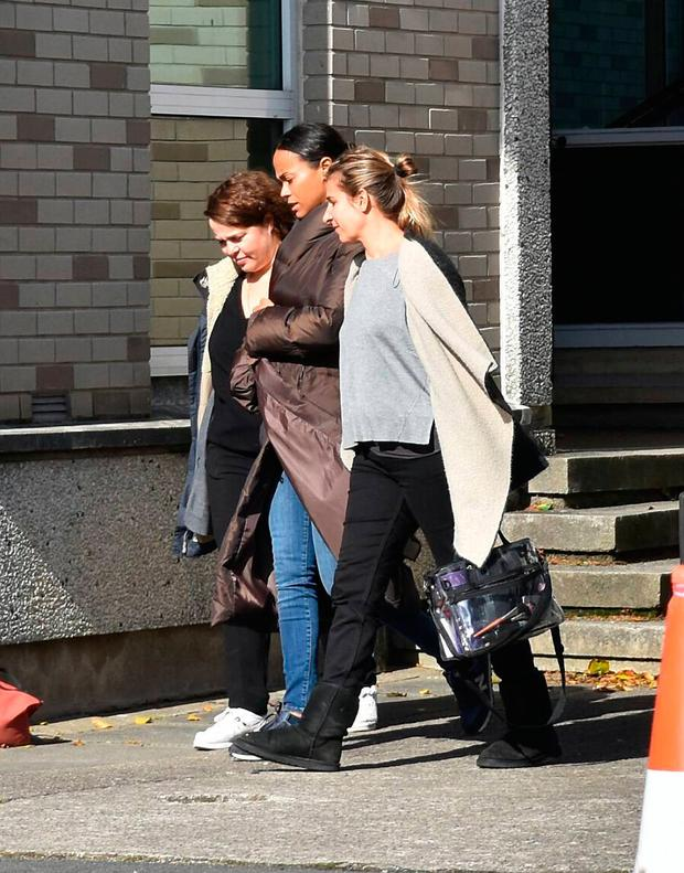 Hollywood actress Zoe Saldana on the set of her movie 'I Kill Giants' where Dublin locations were made to look like an American school. Pictures: Cathal Burke / VIPIRELAND.COM