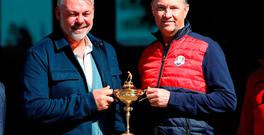 Europe team captain Darren Clarke (left) and Team USA captain Davis Love III