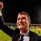 Dundalk manager Stephen Kenny celebrates after the UEFA Europa League Group D match between Dundalk and Maccabi Tel Aviv at Tallaght Stadium