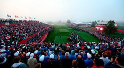 Europe's Justin Rose tees off from the first during day one