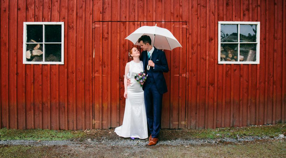 Beautiful day: Fiona from Ballyclare, Co Antrim, and Rob from Dublin on their wedding day