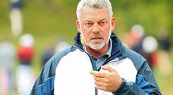 CHASKA, MN - SEPTEMBER 30: Captain Darren Clarke of Europe looks on during morning foursome matches of the 2016 Ryder Cup at Hazeltine National Golf Club on September 30, 2016 in Chaska, Minnesota. (Photo by Scott Halleran/PGA of America via Getty Images)