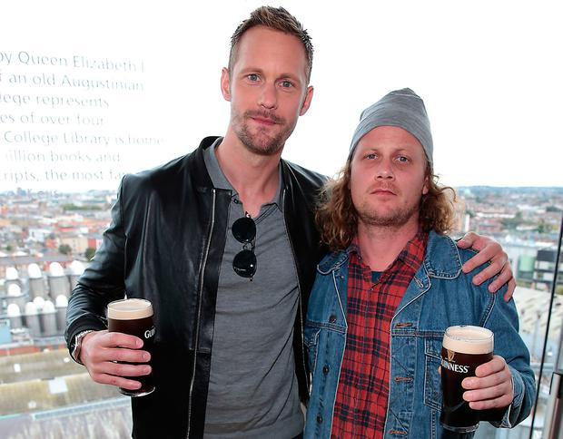 Hollywood actor Alexander Skarsgard with music producer David Mattsson at The Guinness Storehouse, when they touched down in Dublin ahead of the Irish premiere of their new film War on Everyone at the Lighthouse Cinema Dublin. Pictures Brian McEvoy