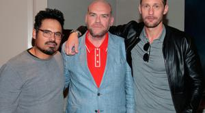 Hollywood actors Alexander Skarsgard and Michael Pena with Director/Writer John Michael McDonagh when they touched down in Dublin ahead of the Irish premiere of their new film War on Everyone at the Lighthouse Cinema Dublin. Pictures Brian McEvoy
