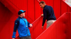 Paul O'Connell bumps into former Chelsea and AC Milan striker Andriy Shevchenko in Hazeltine on Tuesday. Photo: Ramsey Cardy/Sportsfile