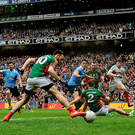 Bernard Brogan shot deflects off the foot of Mayo's Kevin McLoughlin for Dublin's opening goal in the drawn All-Ireland SFC final last Sunday week - Mayo will be hoping for better luck today. Picture: Sportsfile