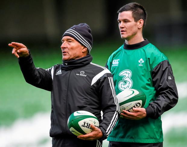 Kicking coach Dave Alred and Ireland's Jonathan Sexton. Photo: Stephen McCarthy / Sportsfile