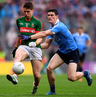 Mayo's Lee Keegan and Dublin's Diarmuid Connolly will each hope their respective sides can emerge victorious from today's All-Ireland SFC replay. Picture: Sportsfile