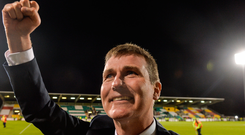 Stephen Kenny celebrates Dundalk's victory over Maccabi Tel Aviv. Picture: Sportsfile