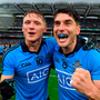 Paul Flynn and Bernard Brogan celebrate last year's All-Ireland final victory over Kerry – will they both be singing in the rain today?