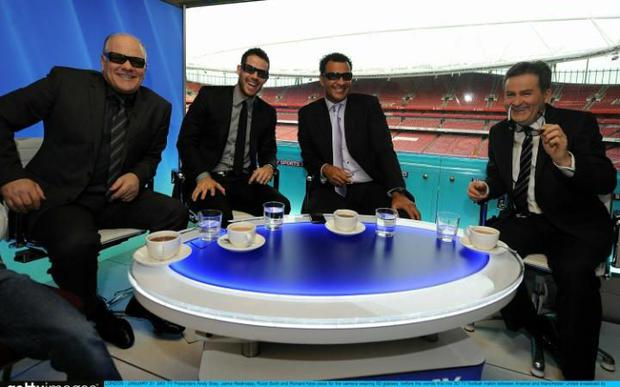 Sky TV presenters Andy Gray, Jamie Redknapp, Ruud Gullit and Richard Keys wearing 3D glasses before the world's first live 3D TV football match between Arsenal and Manchester United in 2010 Credit: Christopher Lee/Getty Images