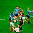 Dublin players Cian O'Sullivan, James McCarthy, and Diarmuid Connolly signal to referee Joe McQuillan that Lee Keegan, Mayo, dived