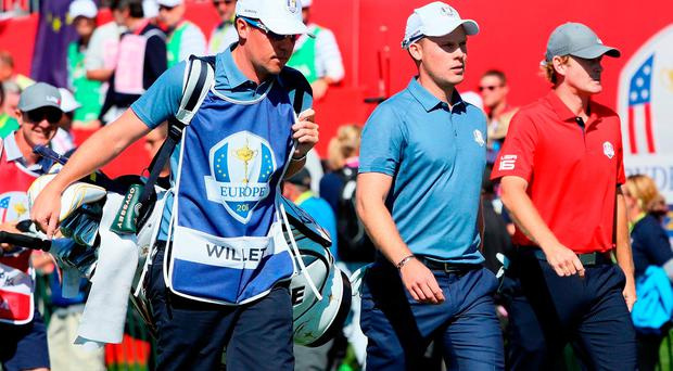 Danny Willett of Europe and Brandt Snedeker of the United States