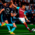 LONDON, ENGLAND - OCTOBER 01: Dimitri Payet of West Ham United shoots during the Premier League match between West Ham United and Middlesbrough at London Stadium on October 1, 2016 in London, England. (Photo by Mike Hewitt/Getty Images)