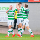 Celtic's Scott Brown (left) celebrates scoring his side's first goal of the game during the Scottish Premiership match at Dens Park, Dundee. PRESS ASSOCIATION Photo.