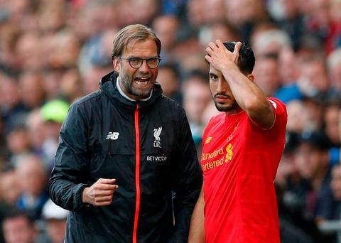 Liverpool manager Juergen Klopp with Emre Can as he prepares to come on. Action Images via Reuters / John Sibley