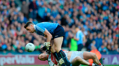 Robert Hennelly of Mayo takes down Paddy Andrews of Dublin. Photo by Eóin Noonan/Sportsfile