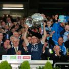 Dublin captain Stephen Cluxton lifts the Sam Maguire. Photo: Kyran O'Brien