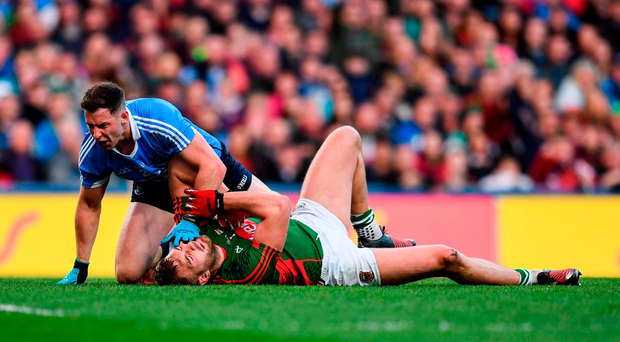 1 October 2016; Philly McMahon of Dublin and Aidan O'Shea of Mayo tussle during the GAA Football All-Ireland Senior Championship Final Replay match between Dublin and Mayo at Croke Park in Dublin. Photo by Stephen McCarthy/Sportsfile