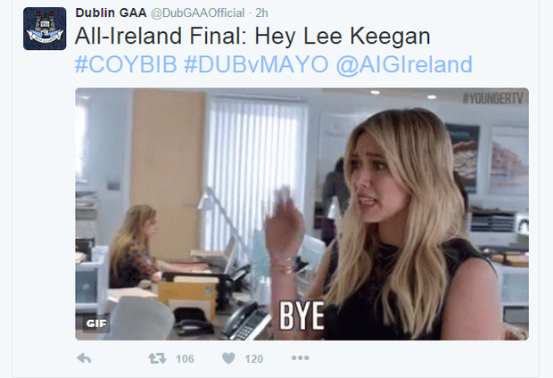 The tweet appeared seconds after Lee Keegan was blackcarded in the first half