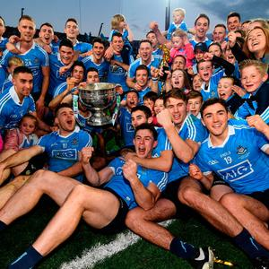 1 October 2016; The Dublin team celebrate with the Sam Maguire cup after the GAA Football All-Ireland Senior Championship Final Replay match between Dublin and Mayo at Croke Park in Dublin. Photo by Stephen McCarthy/Sportsfile