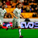 Norwich City's Robbie Brady celebrates scoring his side's second goal of the game during the Sky Bet Championship match at Molineux, Wolverhampton. PRESS ASSOCIATION Photo.